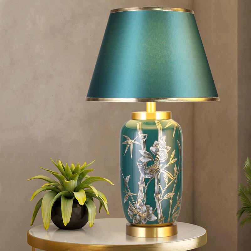 新中式陶瓷台灯别墅客厅沙发边几卧室灯珐琅彩美式轻奢主卧床头灯