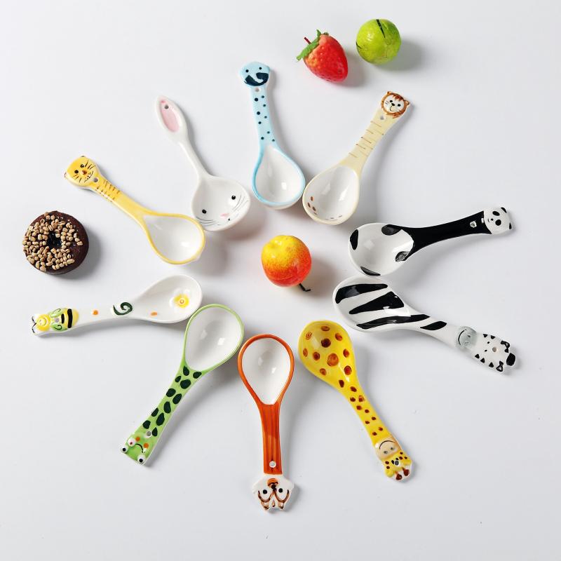 景德鎮 手繪動物勺子兔子長頸鹿可愛卡通湯勺手繪兒童飯勺小勺子
