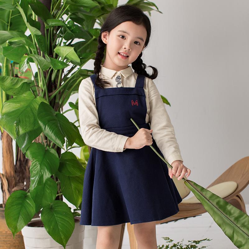 茵曼童装2019秋季款亲子装母女装吊带连衣裙背带裙【拼】