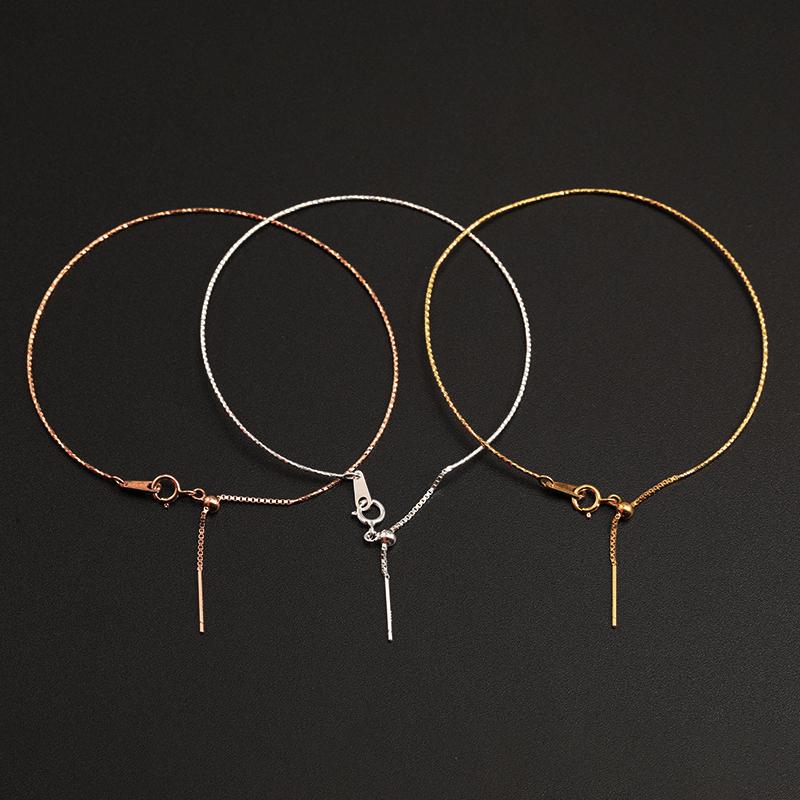配件 纯银万能手链手镯银色金色玫瑰金色硅胶可调节穿珠子  S925 diy