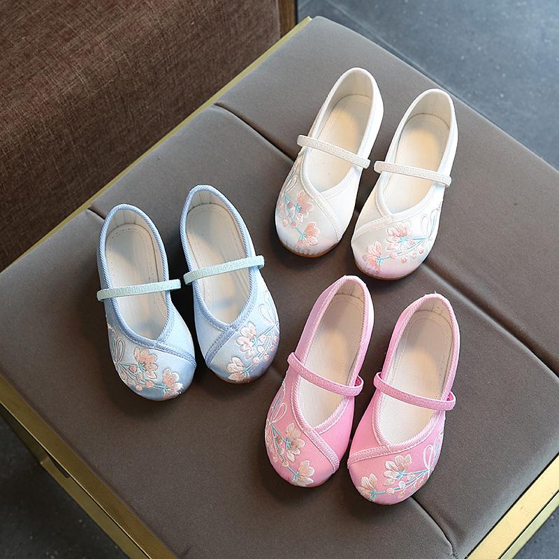 老北京布鞋女童网鞋民族风绣花鞋儿童表演出舞蹈鞋公主国风汉服鞋