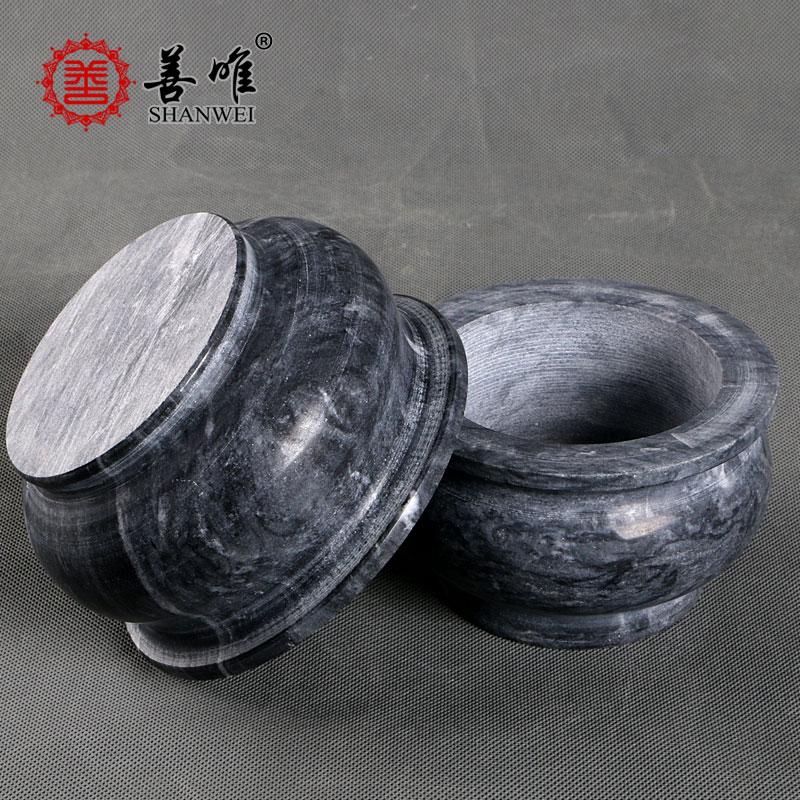 墓地用香炉玉石香碗天然石头玉器青石大理石石雕黑色花岗岩香炉