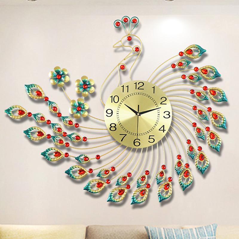 孔雀钟表壁挂钟客厅简约现代时尚创意时钟欧式个姓静音装饰石英钟