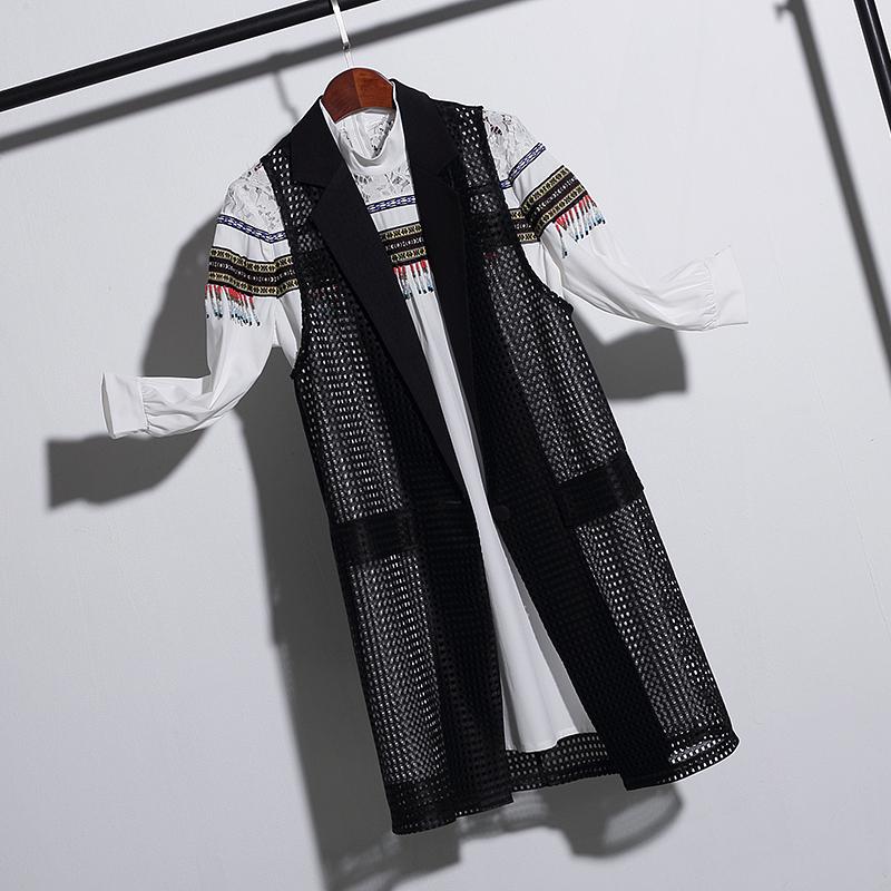 2019夏韩版西装翻领镂空马甲开衫纯色中长款宽松显瘦外套马夹女潮
