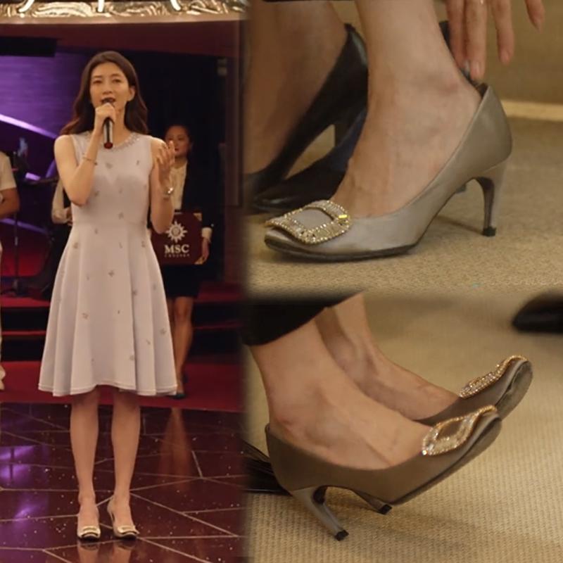 三十而已江疏影王漫妮同款鞋2020秋季款细跟圆头方头水钻高跟鞋女