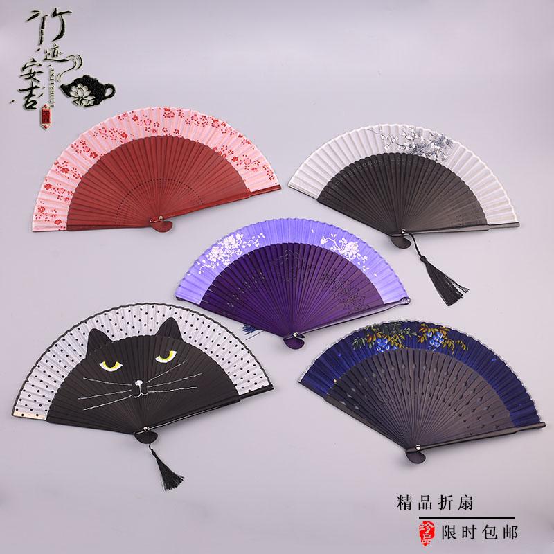 折扇中国风女士真丝折叠扇男士古风扇子烤漆扇柄礼品扇包邮