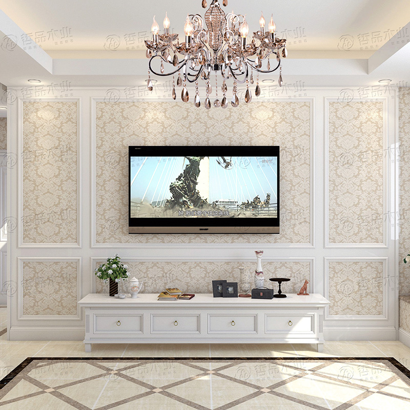 哲品电视背景墙边框线条框装饰框实木框电视墙造型框欧式护墙板