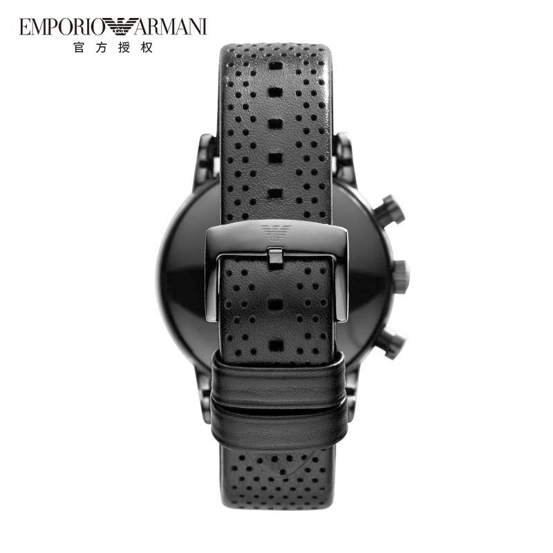 Armani阿玛尼正品手表男透气针孔皮带款时尚酷黑休闲男腕表AR1737
