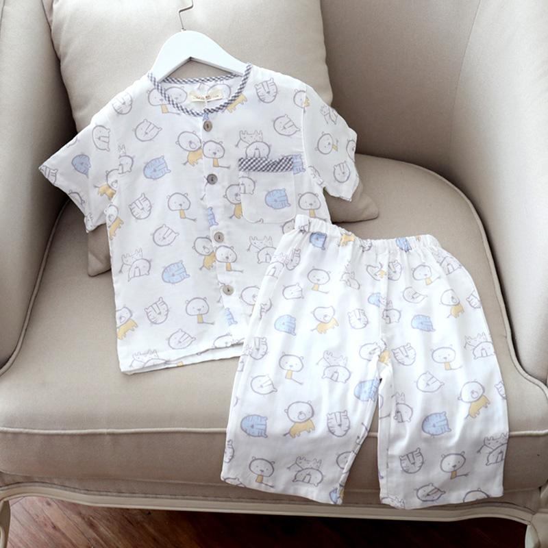儿童夏季薄款纯棉纱布短袖短裤睡衣套男童全棉圆领卡通短袖家居服