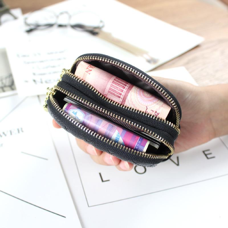 新款欧美双拉链钱包女小香风菱格迷你零钱包硬钱袋小手包卡包 2019