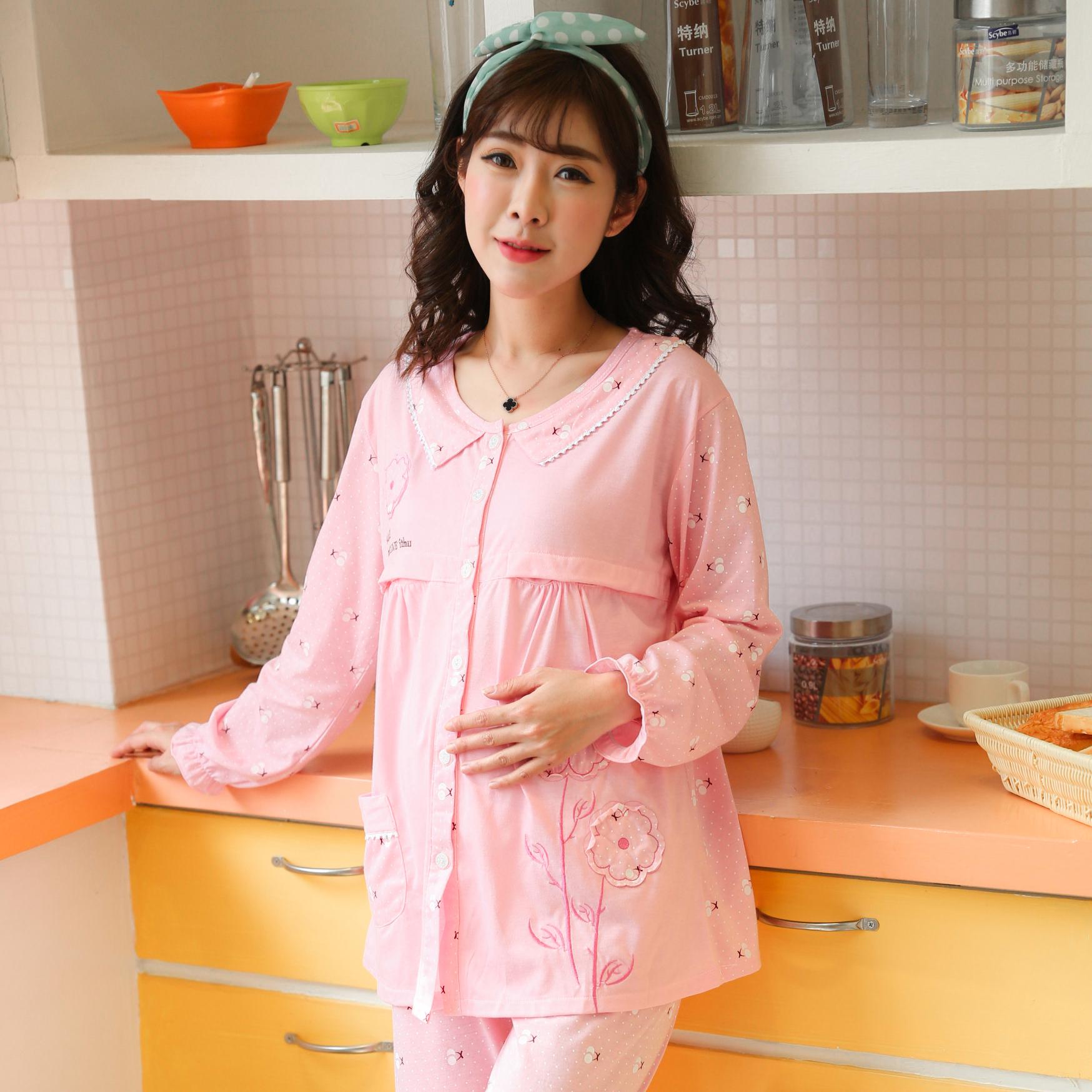 春夏季薄款纯棉月子服孕妇睡衣产后喂奶衣外出哺乳衣