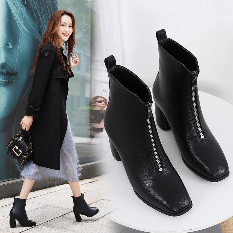 秋冬新款韩版真皮短靴 2018 靴子女前拉链粗跟高跟方头英伦风马丁靴