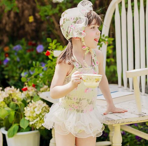儿童泳衣女孩韩国女宝宝2-3岁泳装连体可爱公主碎花蕾丝裙式韩版