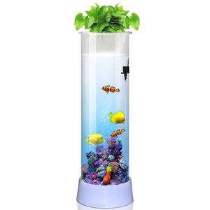 家乐厨超白鱼缸 客厅 小型金鱼缸圆柱形家用水族箱创意免换水立式