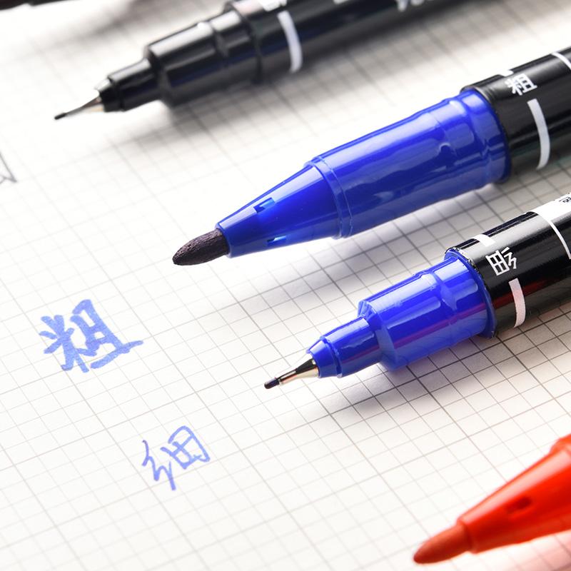 得力记号笔黑色双头粗细勾线笔儿童绘画美术马克笔油性笔油性批发