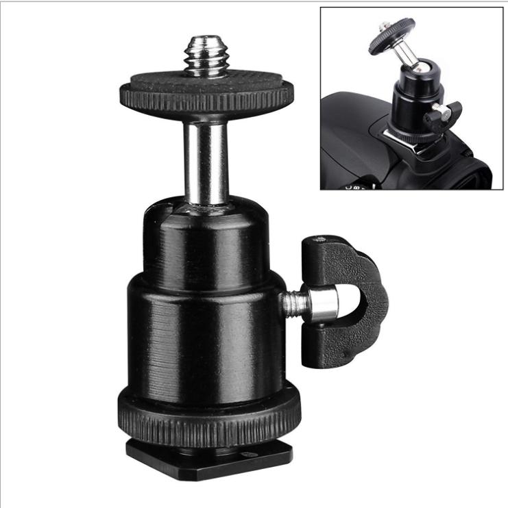 金属热靴小云台 1/4螺丝接口万向球型云台/支架 摄影灯监视器支架