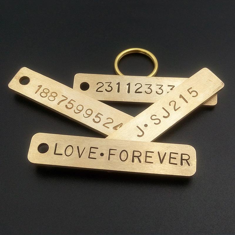 防丢汽车钥匙牌黄铜钥匙扣挂件男女情侣号码牌宠物牌定制刻字铜板