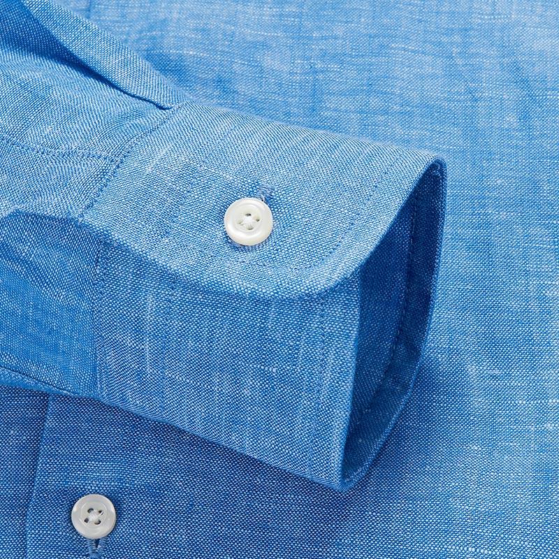 恺米切2018年新款青年男士长袖衬衫 夏季休闲蓝色时尚亚麻衬衣
