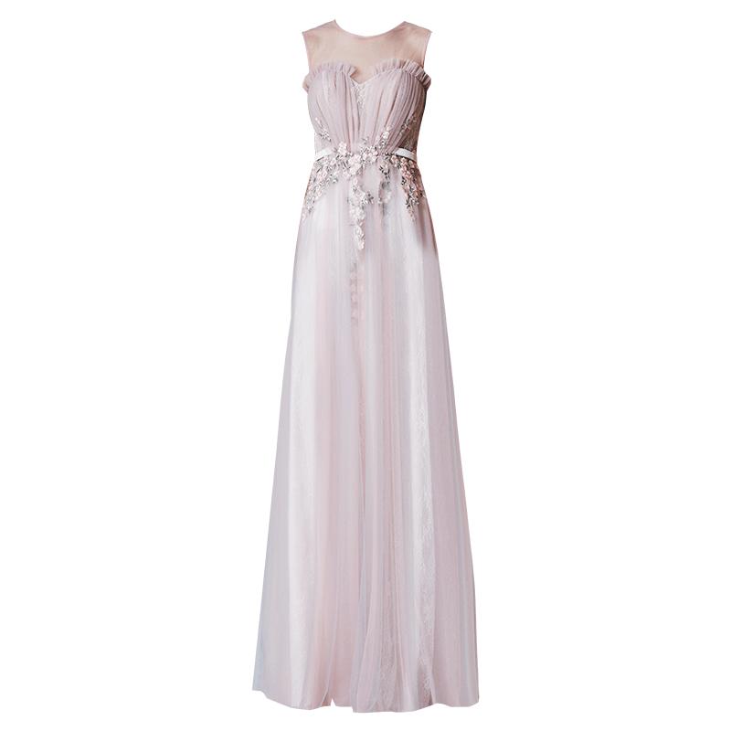 创意狐礼服女2019新款结婚礼服新娘长款宴会主持人生日派对连衣裙