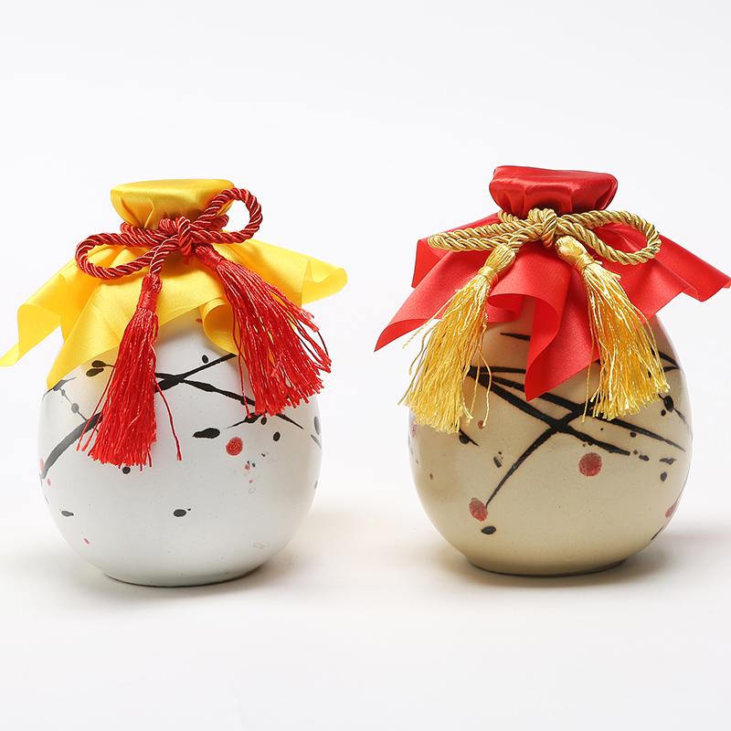 古苑 陶瓷酒瓶酒具一斤装500ml手彩手绘图复古小清新和风日式酒壶