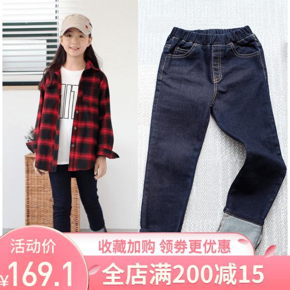 現貨韓國正品進口2019春款女童兒童中大童牛仔褲卷邊9分褲淨版