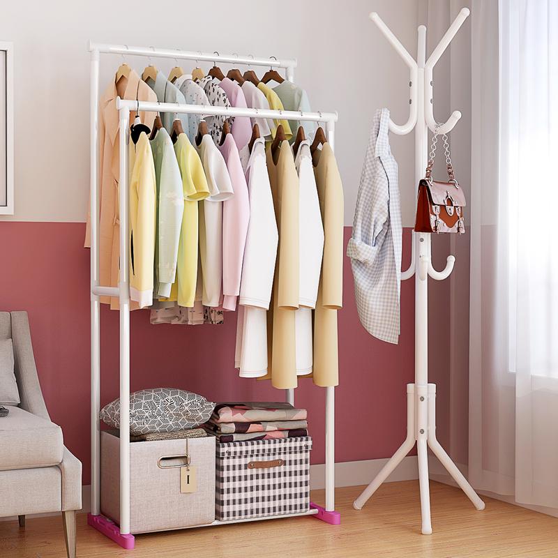 簡易衣帽架置物架臥室轉角三角創意衣服架子穩固架鐵藝包包掛衣架