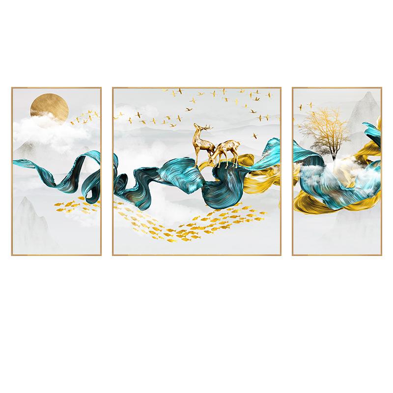 客厅装饰画沙发背景墙三联画晶瓷画现代简约挂画玄关餐厅壁画北欧