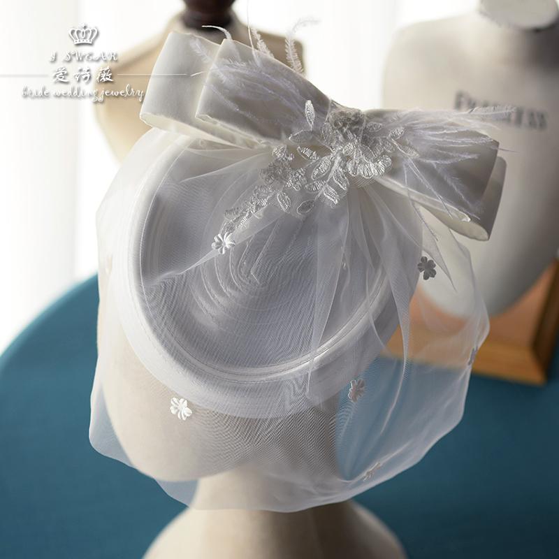 爱诗薇时尚绢纱花朵缎布小礼帽发饰新娘结婚旅拍影楼帽子头饰配饰