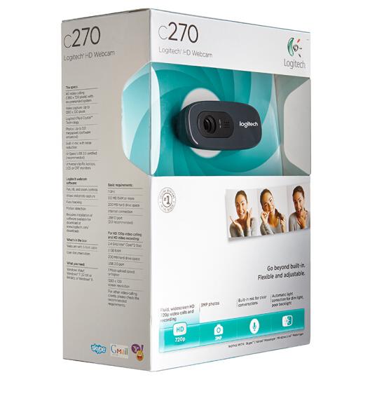 国行罗技C270/C270I电脑摄像头高清视频带麦克风智能电视iptv教学