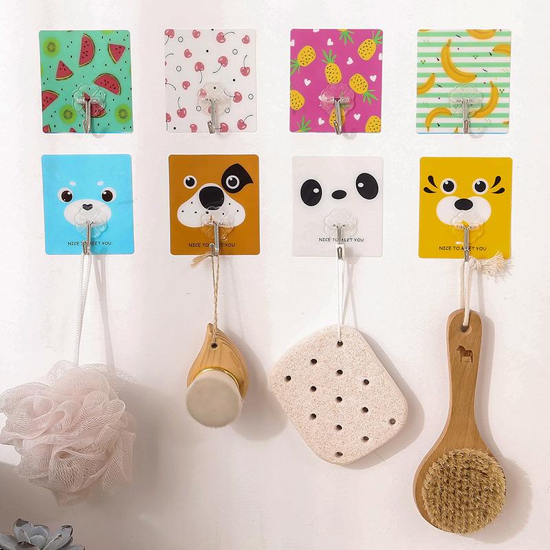 免釘粘膠掛鉤 透明無痕粘鉤浴室壁掛衣鉤廚房牆壁貼上排鉤