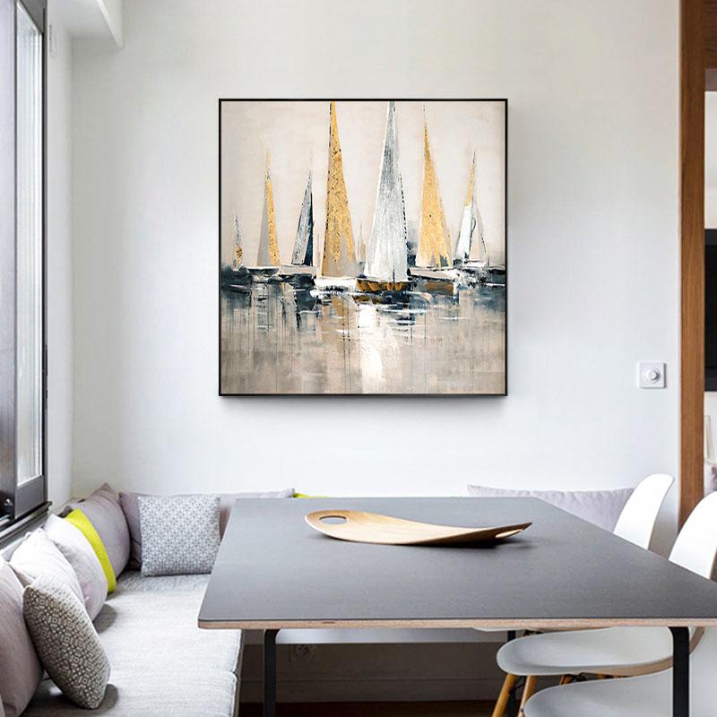 現代簡約輕奢風裝飾畫手繪油畫客廳餐廳玄關墻單幅掛畫正方形帆船