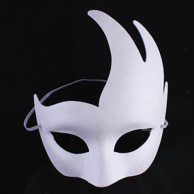 舞会白色手绘画画面具DIY环保纸浆面具男女款动物面具京剧面具