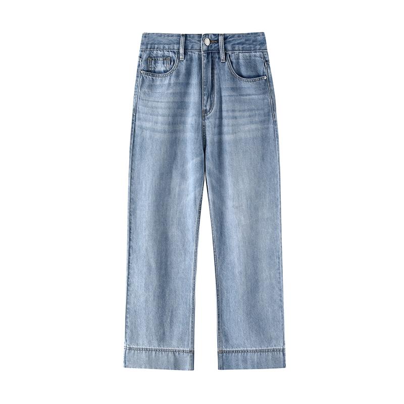 新款长裤 天丝牛仔裤女宽松夏季直筒九分薄款高腰阔腿  77store 2021