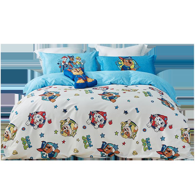 罗莱家纺汪汪队纯棉床单全棉卡通男孩被套宿舍床上用品儿童四件套 (¥549(券后))