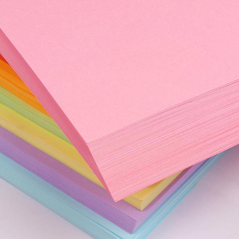 互信100张a4彩纸打印纸彩色a4纸手工折纸红色粉色混色80g克纸黄色混色装复印纸白纸70g80g整箱
