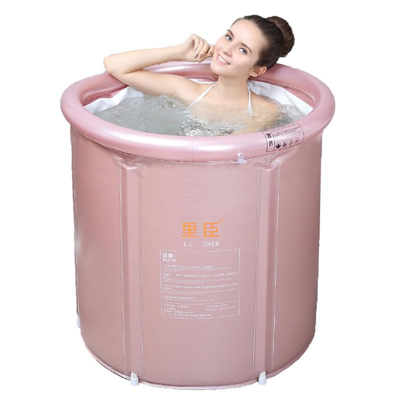 里臣家用可折叠浴桶成号大人泡澡桶全身加厚塑料洗澡盆简易沐浴圆