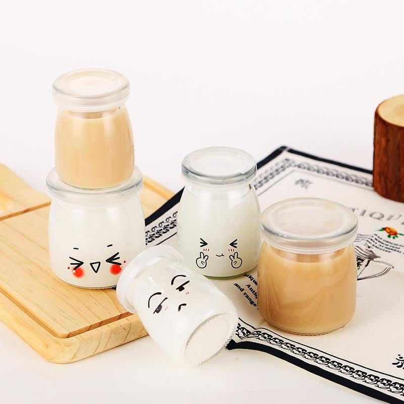 布丁瓶玻璃布丁杯酸奶瓶烘培模具自制酸奶杯果冻慕斯杯带盖耐高温