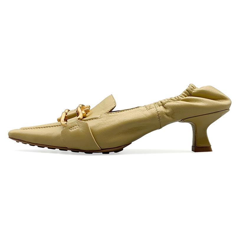 法式小方头复古单鞋软皮中跟细跟高跟鞋 V 万人种草 B 鞋匠女王