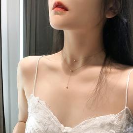 欧美风双层豆豆项链女潮网红锁骨链气质ins简约脖子饰品颈链颈带