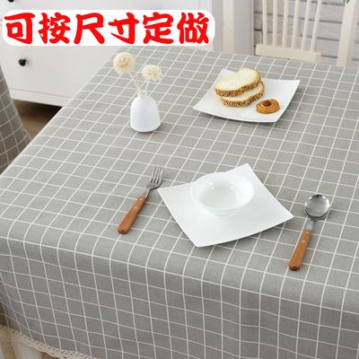简约现代格子北欧田园茶几餐桌布艺棉麻小清新长方形圆桌网红台布