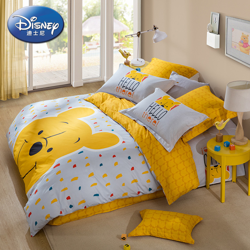 LOVO家纺迪士尼儿童卡通床品纯棉床单被套床上四件套