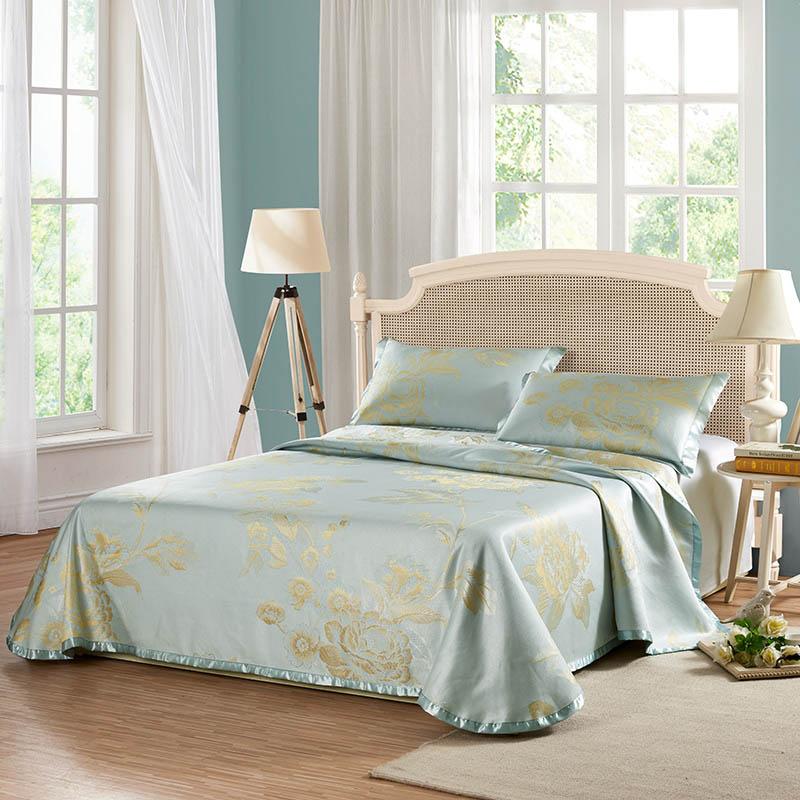 LOVO家纺夏季夏凉空调席子1.8m双人床折叠提花冰丝席