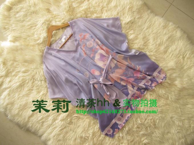 春夏新款真丝T恤女夏短袖宽松大码衬衫蝙蝠衫高档印花桑蚕丝上衣