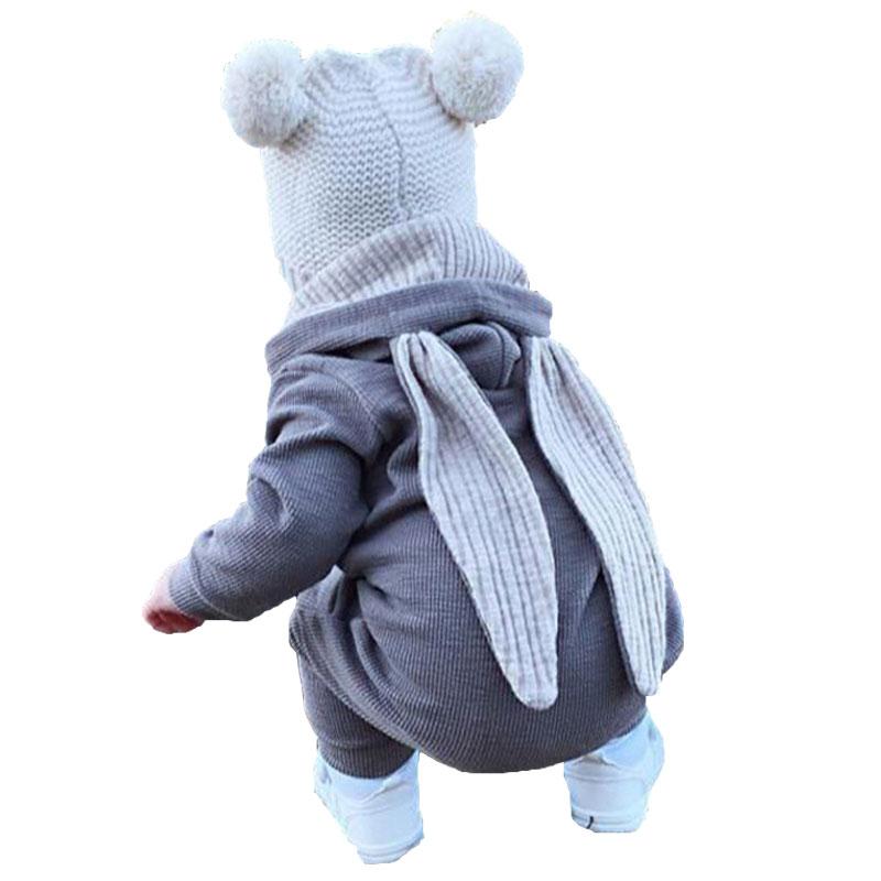 秋季新款男女宝宝小兔子连体衣帽衫长耳朵哈衣爬服新生儿衣服现货