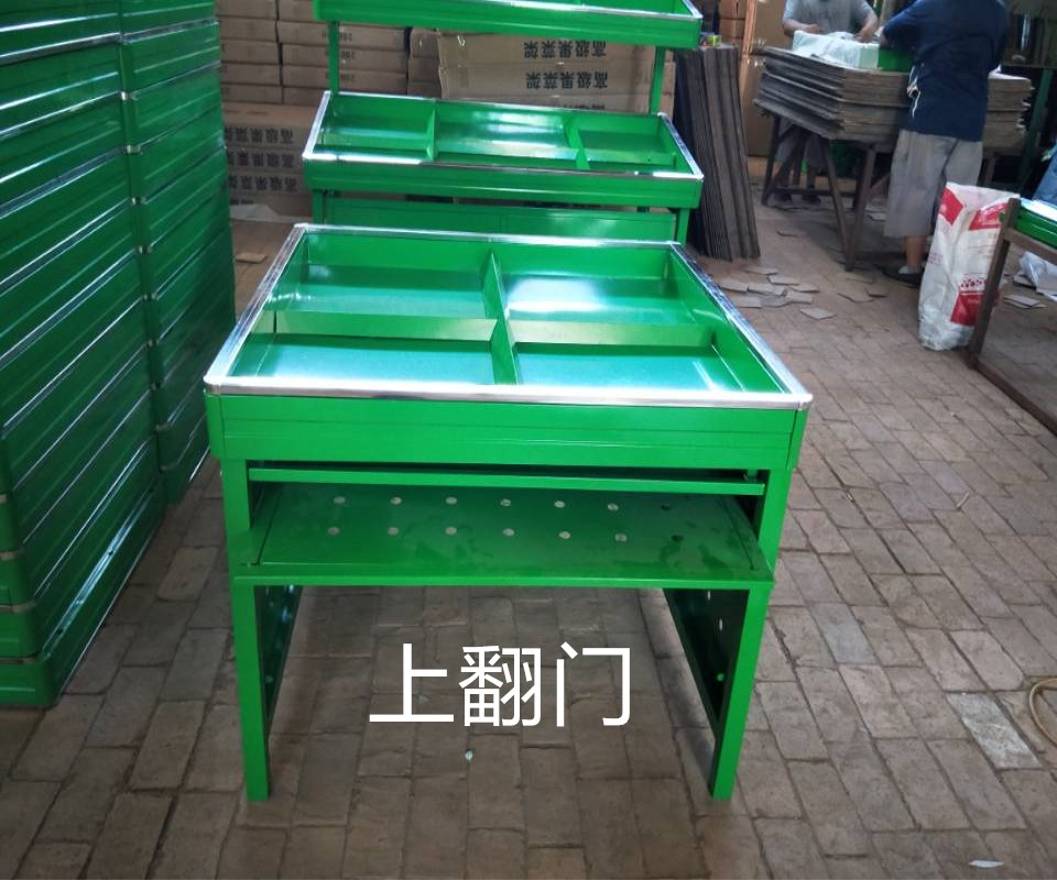 超市蔬菜水果架果蔬架超市货架水果店便利店堆头平台货架全绿色
