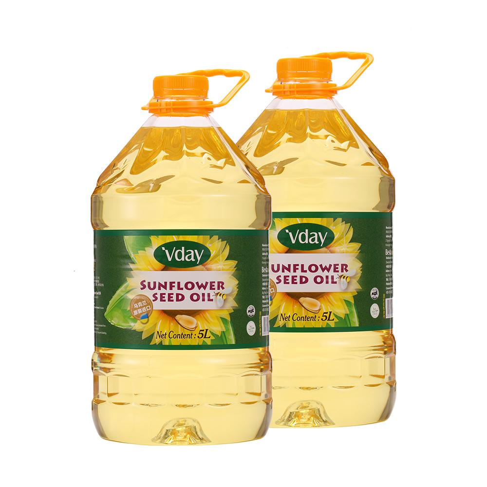 【直营】唯典乌克兰原装进口葵花籽油5L*2桶一级物理压榨食用油