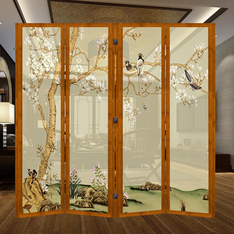 北欧客厅折叠屏风隔断酒店卧室饭店玄关实木半透明可移动双面折屏