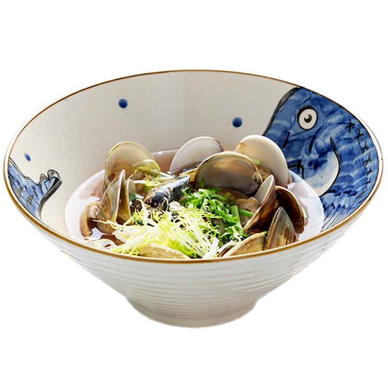 创意日式斗笠碗大面碗家用早餐面条碗陶瓷汤碗个性餐具牛肉拉面碗主图