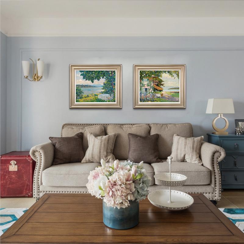 義派餐廳臥室掛畫莫奈梵高風景靜物花卉油畫美式歐式簡約雙聯版畫