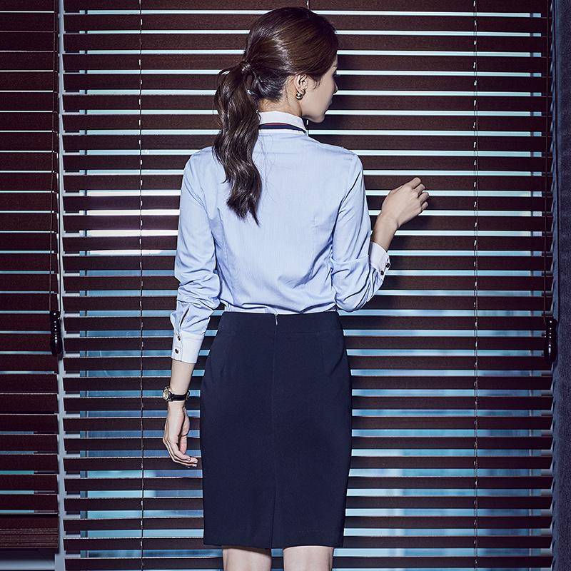 职业装女套装前台面试正装教师工作服空姐制服气质女王范蓝色衬衫